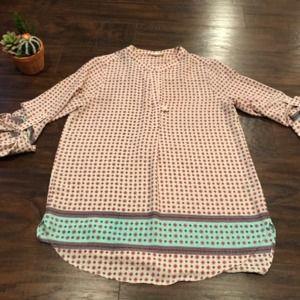 Pleione tab sleeve geo printed popover blouse sz S